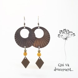 Boucles à rayons - perle ocre