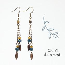 Cascade de perles - bleu & or