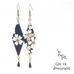 Losange XXL fleurs noir...